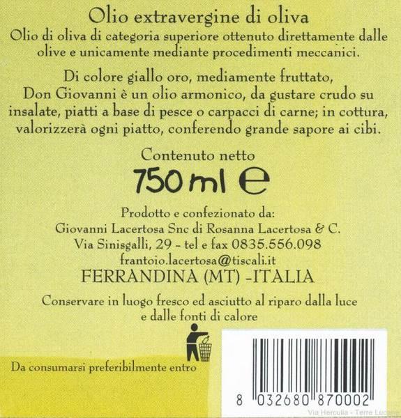 Olio Extravergine di Oliva Don Giovanni