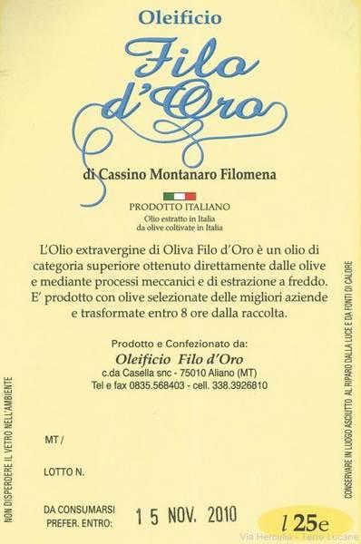 Olio Extravergine di Oliva Filo d'Oro