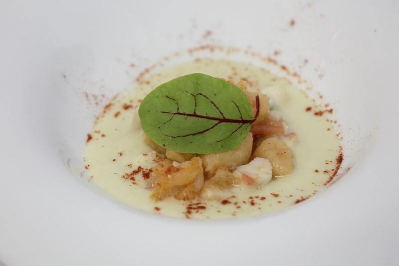 Gnocchi di patate allo zafarano di Senise con salsa di baccalà e olive infornate su vellutata al finocchio